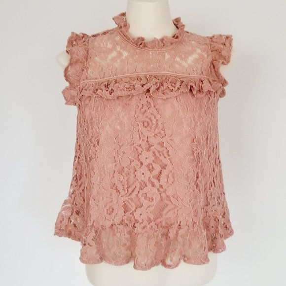 Dusty Rose Lace Top (S/M)